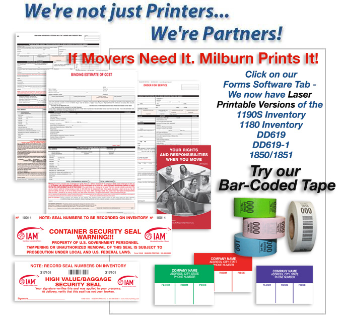 Milburn Printing Leading Supplier Of Forms Labels And Tape To The - Moving estimate template